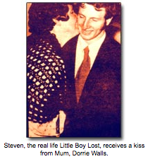 Steven, the real life Little Boy Lost, receives a kiss from Mum, Dorrie Walls.